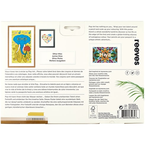 Reeves Colouring Poster & 12 Pencils Big Wide World Assorted Colours